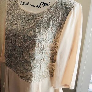 FRENCH Connection Blush Lace Front Blouse